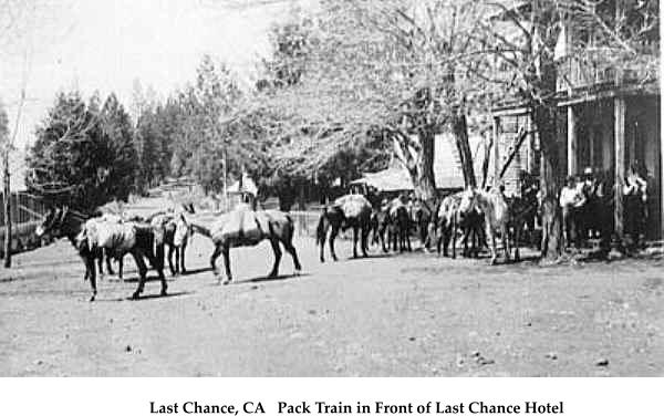 Last Chance, CA   Pack Train in Front of Last Chance Hotel